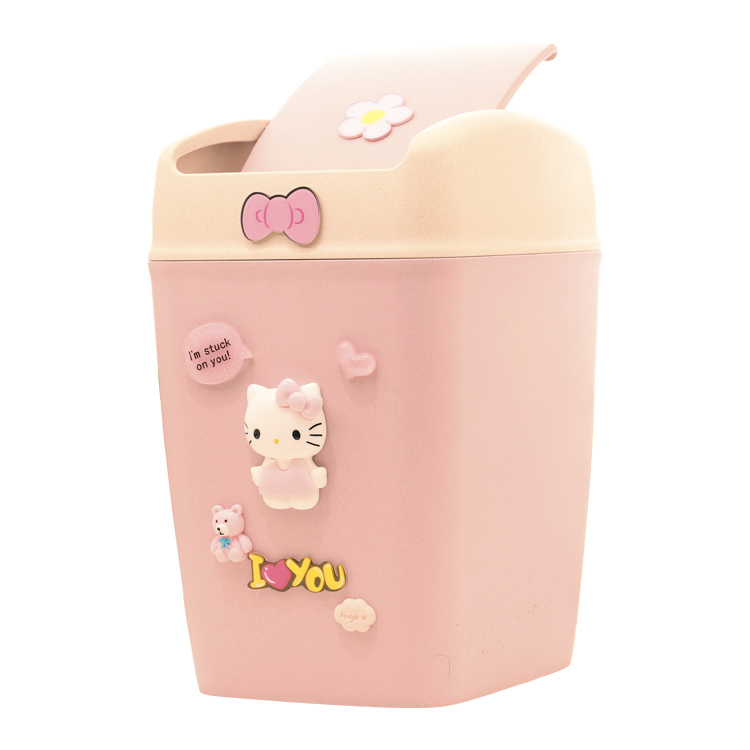 Hello Kitty Garbage Cans Wheat Straw Material Cartoon Cute Household Trash Can with Lid Kitchen Bathroom Car Waste Bin Pink/blue|Waste Bins| |  - title=