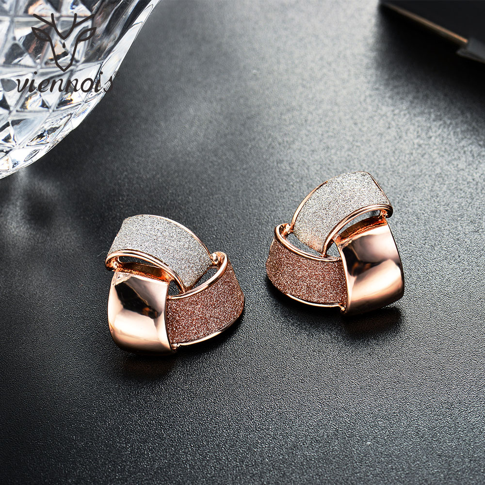 Viennois Fashion Jewelry Rose Gold Color Knot Stud Earrings for Woman Triple Color Party Earrings