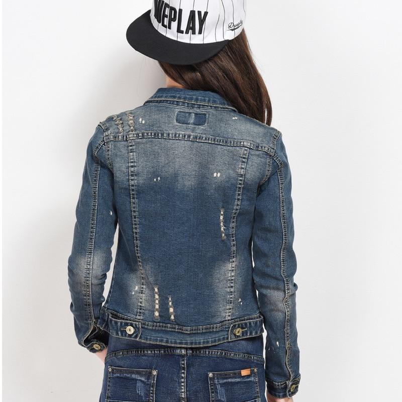 Xl Femmes Veste Hot Jeans Bleu Blouse Manteau Longues Court Cassé Tendance Mode Printemps Dame New 2018 Cardigan À Manches Lâche Trou tq55wxHR