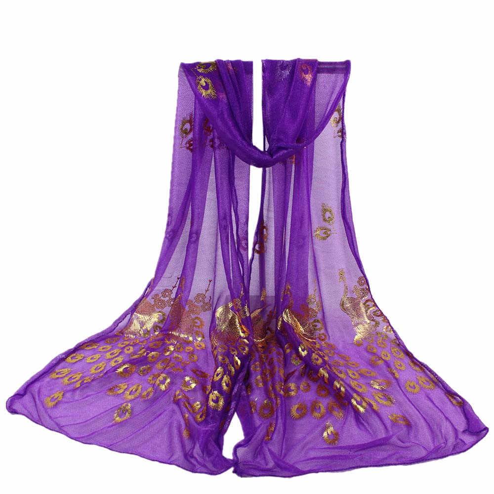 女性のスカーフの女性女性マルチカラー孔雀の花スカーフロングソフトラップショールパシュミナストール春の新作ファッション Scarve