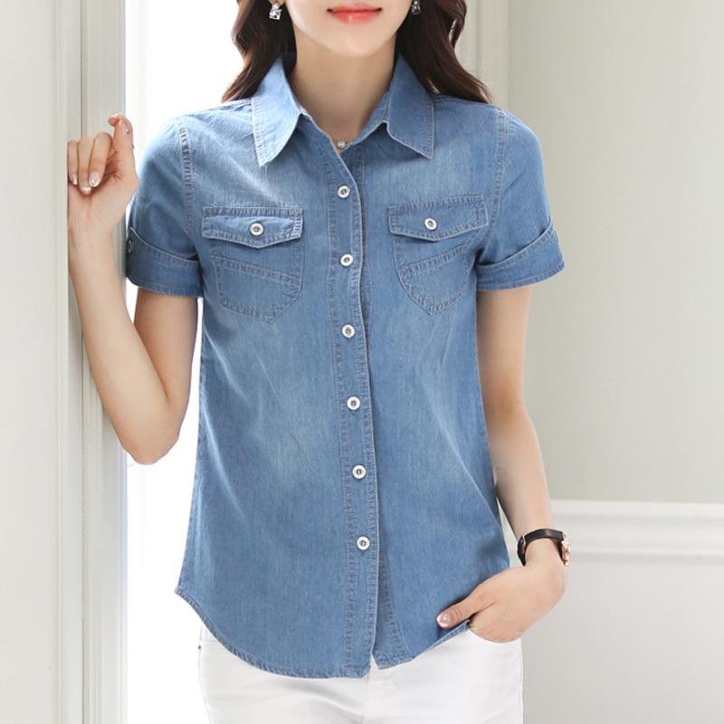 Loose Denim Women Blouses Short Sleeve Shirts Women Tops Vintage Jeans Blouse Female Casual Clothing 2019 Autumn Cotton 50B