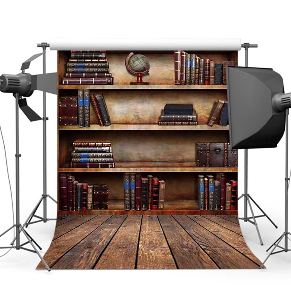 Wooden Bookshelf Photo Background for Photography Vintage Books Studio Old Library Photographic Backdrops