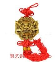 Evil spirits sword feng shui decoration copper knocker lion head door lock Bronze statue copper