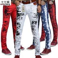 2017 Autumn New ink Splashes Harajuku Printed Red Skull Dragon White Jeans Pants Men Skinny Cotton Casual Hip Hop Trousers Men