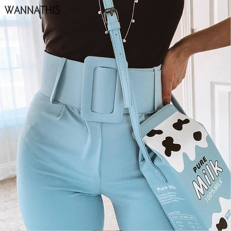 WannaThis Casual Pants High Waist Belted Pencil Ankle-Length Slacks Office Lady Suit Pants Women Trousers Blue Elegant Slim