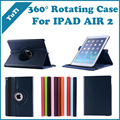 Free Shipping 360 Degree Rotating Stand Leather Case Smart Cover For iPad Air 2 iPad 6, With Automatic Wake/Sleep Function