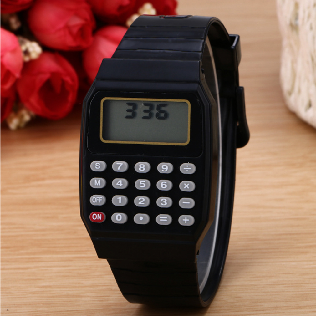 Practical Children Calculator Digital Watch Black Color Silicone Comfortable Wear Calculator Wrist Watch For Kids Gifts