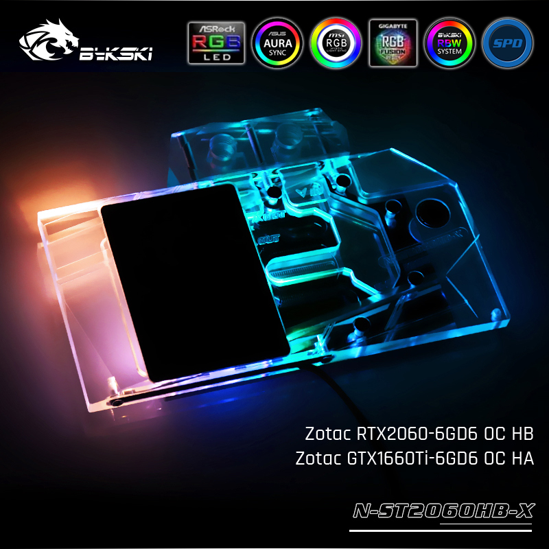 Bykski N-ST2060HB-X, Full Cover Graphics Card Water Cooling Block, For Zotac RTX2060-6GD6 OC HB/GTX1660Ti-6GD6 OC HABykski N-ST2060HB-X, Full Cover Graphics Card Water Cooling Block, For Zotac RTX2060-6GD6 OC HB/GTX1660Ti-6GD6 OC HA