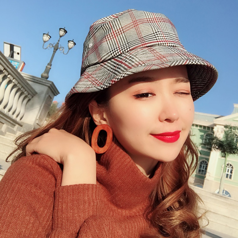e2fcad1a6 Korean Casual Style Plaid Collapsible Cotton Linen Women Cap panama boonie  Handy Outdoor Cap Fisherman Hat Breathable Bucket Hat