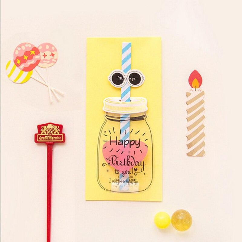 Verjaardag Bericht.Us 9 34 45 Off 10 Stks Partij Creatieve Feed Fles Envelop Papier Nieuwigheid Gelukkige Verjaardag Bericht Brief Kaart Postcard Gift In 10