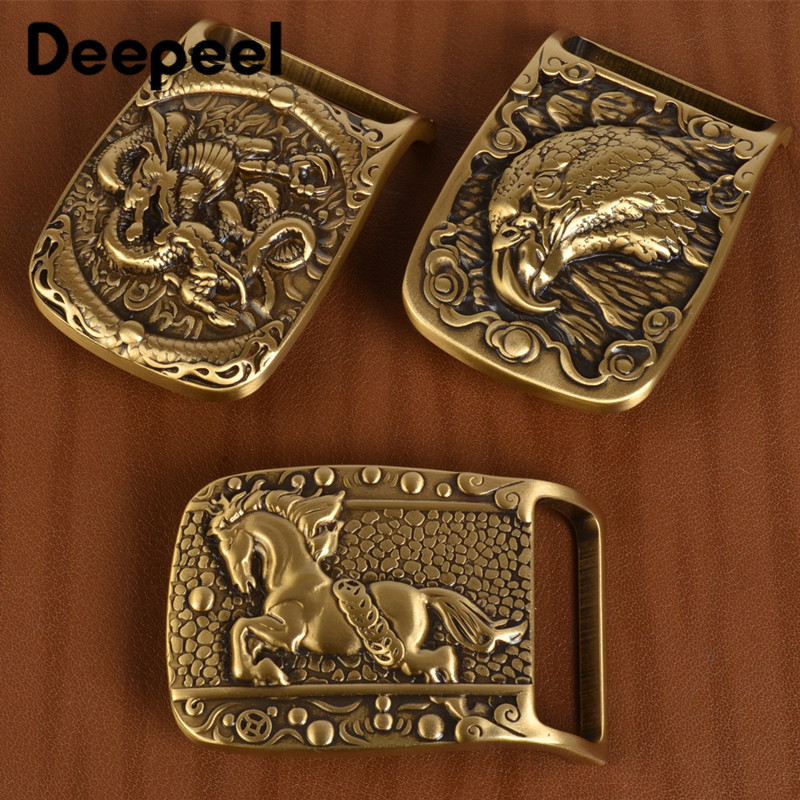 Deepeel 1Pc Solid Brass Metal Belt Buckle Men Women Belt Head For Belt 37-38mm DIY Leather Craft Jeans Accessories YK159