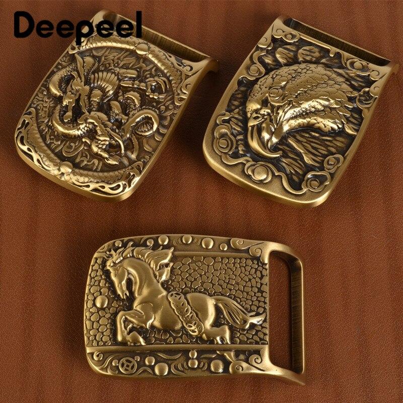 Deepeel 1Pc Solid Brass Metal Belt Buckle Men Women Belt Head For Belt 37-38mm DIY Leather Craft Jeans Accessories YK159