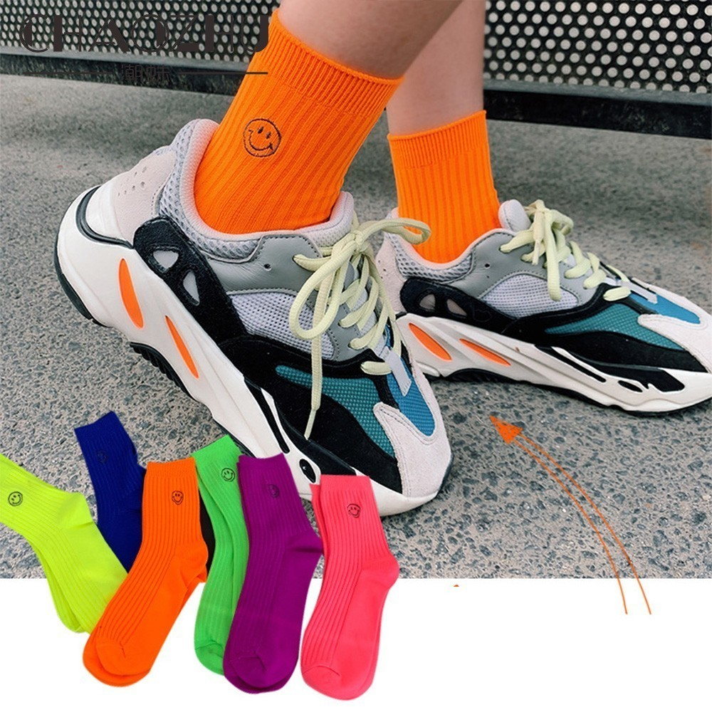 CHAOZHU Hip Hop Swag Summer Autumn Street Emoji Bright Eyes Neon Orange Green Yellow Smile Fashion Socks Women Party Footwear
