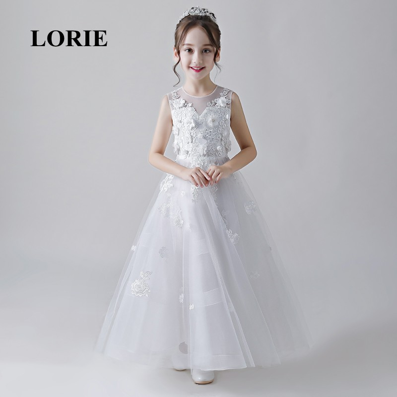 LORIE Long   Flower     Girl     Dresses   O-Neck A Line Appliques Tulle Lace Zipper Back   Girl   Party   Dresses   for   Girl   Pageant Free Shipping