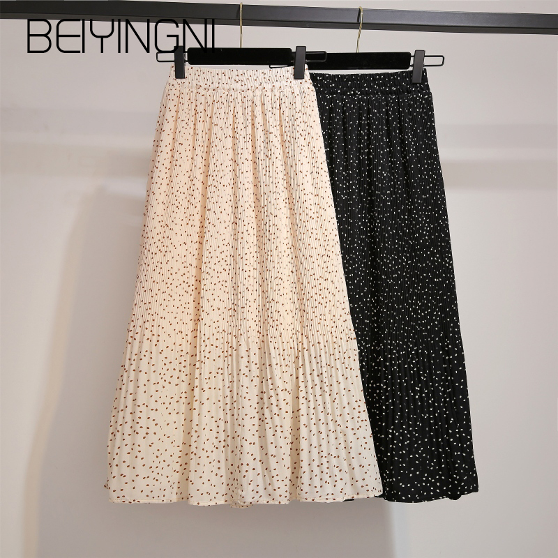 Beiyingni Elastic Waist Fashion Tulle Skirt Womens Dots Printed Vintage Chiffon Saia Promotion Plus Size Pleated Midi Skirts OL