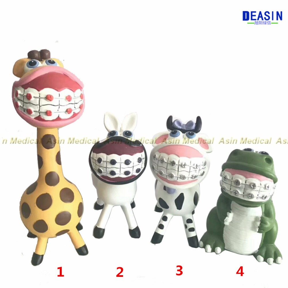 2018 high quality Cute animals Orthodontic dental clinic ornaments Teeth desktop showcase decoration Clinic decorations dentist gift resin crafts toys dental artware teeth handicraft dental clinic decoration furnishing articles creative sculpture