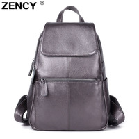 ZENCY 13 Colors Backpack 100% Real Genuine Cow Leather Cowhide Women's Female Top Layer Cow Leather School Book Backpacks Bags