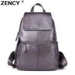 ZENCY 13 colores mochila 100% auténtico cuero de vaca mujer capa superior de cuero de vaca libro escolar mochilas bolsas