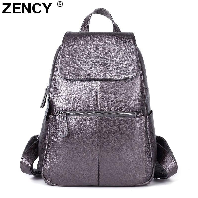ZENCY 13 couleurs sac à dos 100% véritable vache en cuir de vachette femmes femme première couche en cuir de vache école livre sacs à dos sacs