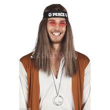 3pcs/set Cool Hippy 60s 70s Headband Sunglasses Peace Necklace Fancy Dress Props