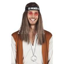 7fe9187db8d0 Vendita calda fredda Hippy 60 s 70 s Della Fascia Occhiali Collana di Pace  del Vestito Operato Costume Accessorio