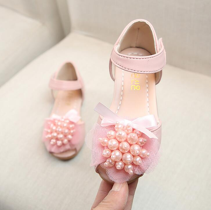 Girls Sandals 2019 New Summer Fashion Child Princess Flat Soft Pearl Child Student Sandals For Baby Girls School PartyGirls Sandals 2019 New Summer Fashion Child Princess Flat Soft Pearl Child Student Sandals For Baby Girls School Party