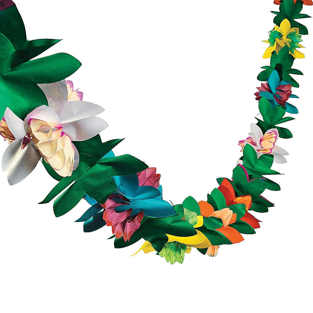 Artificial Flowers Leaves Bunting Tableware Banner Hawaiian Party Decor Supplies