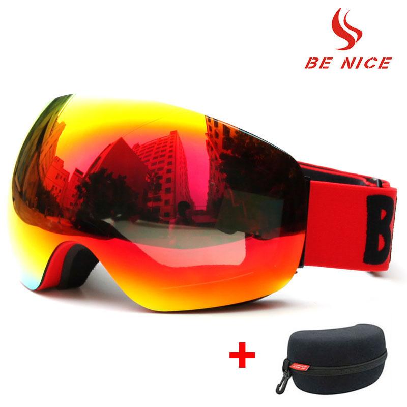 Big Frame Lunettes De Ski Double Lentille UV400 Anti-brouillard Adulte Snowboard lunettes de Ski Femmes Hommes Neige Lunettes pour casque avec cas