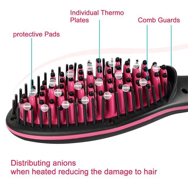 Ceramic Hair Straightener Brush Fast Straightening hair Electric Comb Flat Iron LCD Display Digital Heating hair Brush