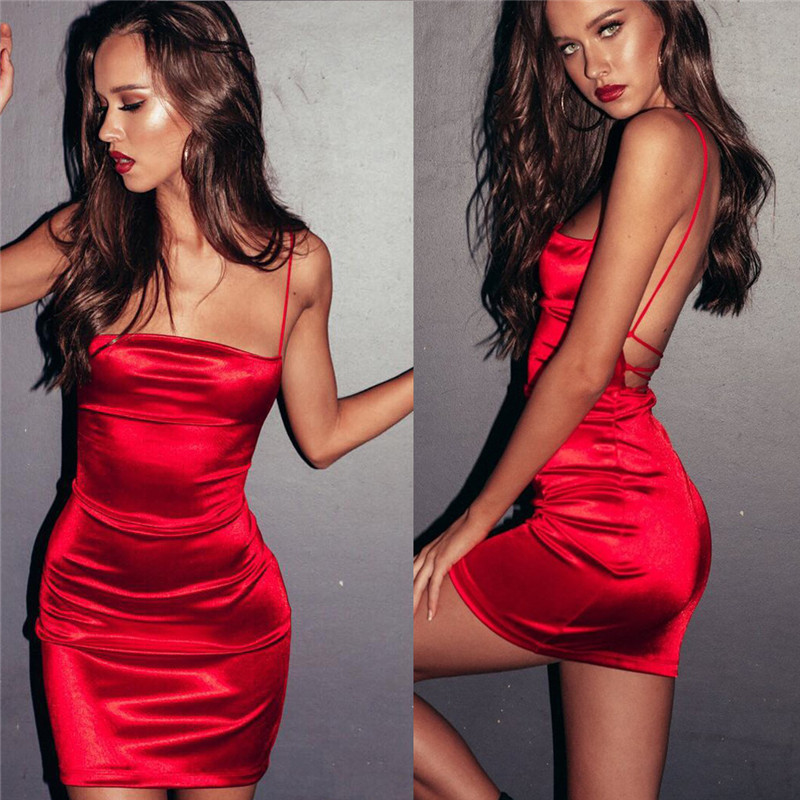 944bffae7c 2019 Women Summer Sexy Red Dresses Vintage Elegnat Party Night Club Bodycon  Bandage Mini Dress