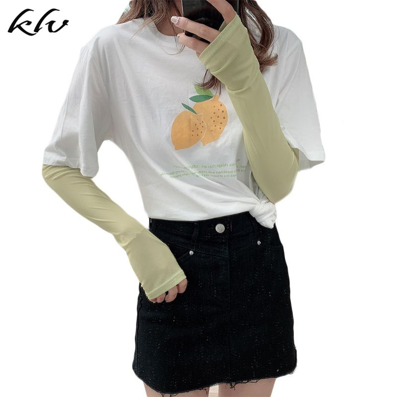 Women Summer Ice Silk Cooling Arm Sleeves Warmer Macaron Cream Color Outdoor Cycling Sun Protection Fingerless Thumb Hole Gloves in Women 39 s Arm Warmers from Apparel Accessories