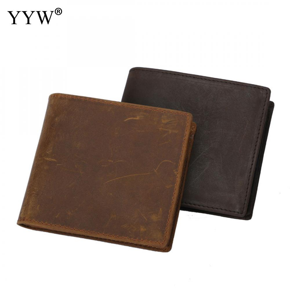 Solid Color Causual Purse Coyote Brown Mens Genuine Leather Famous Brand Short Wallets with Interior Zipper Pocket