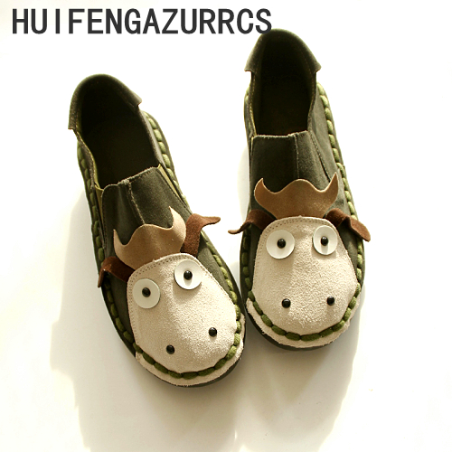 HUIFENGAZURRCS Spring Genuine Leather shoes pure handmade shoes the retro art mori girl Flats shoes Cute