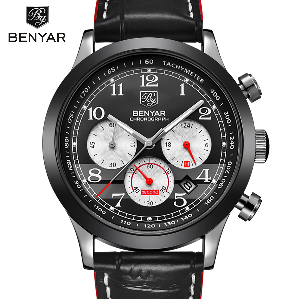 BENYAR Fashion Men Watches Top Brand Luxury Men's Quartz Chronograph Sport Watch With Small Dials Male Wrist Watch Clock xinge top brand luxury leather strap military watches male sport clock business 2017 quartz men fashion wrist watches xg1080