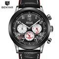Benyar moda hombres relojes de primeras marcas de lujo de los hombres del cuarzo del deporte del cronógrafo reloj de pulsera con pequeños diales masculino reloj de pulsera de reloj