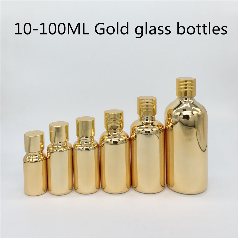 10ml 15ml 20ml 30ML 50ml 100ml Gold Glass Bottle For Essential Oil With Screw Cap Plug Perfume Bottles