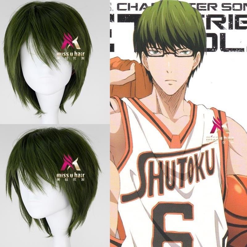 Japanese Anime kurokos basket Green wig kuroko no basuke Midorima Shintaro green straight wig Comic role play hair free shipping