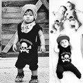 Cráneo Imprimió el Mameluco Recién Nacido Nununu Bebé Peleles de Algodón de Niños Ropa Negro Niños Niñas Ropa Niños Ropa Del Mono