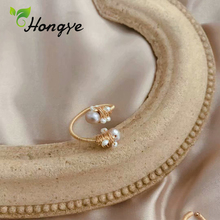 цена на Gold Color Adjustable Pearl Rings for Women Original Brand Multi Layered Metal Women Fine Jewelry Natural Pearl Fashion Ring
