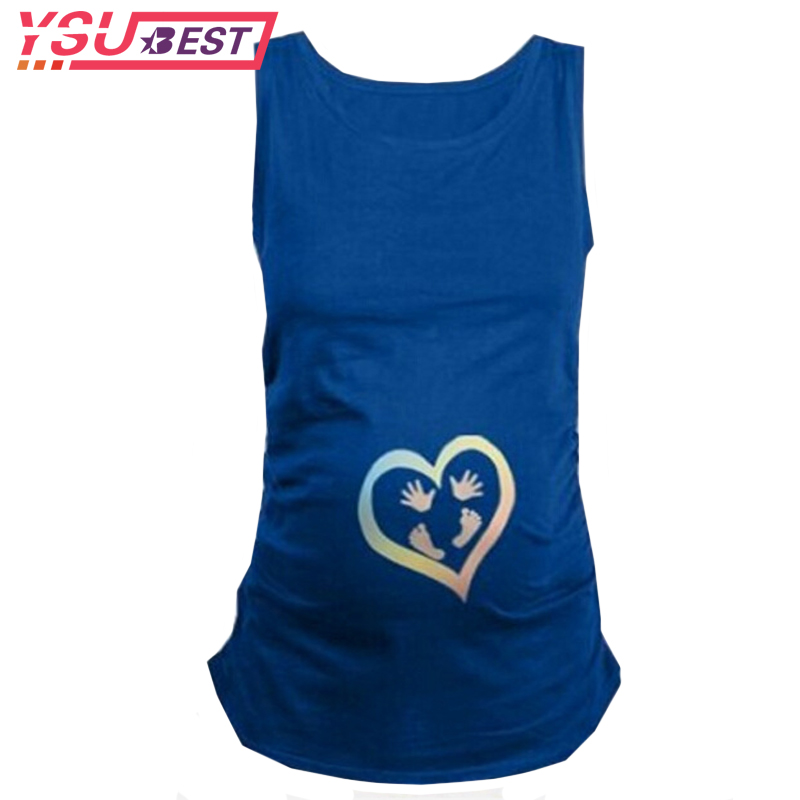 Summer Pregnant Maternity Sleeveless Thirt Funny Baby's Ass Maternity Feet hand Shirt Maternity Clothing for Pregnant Women Plus