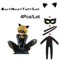 Black Cat Noir Cosplay Costume Miraculous Ladybug Jumpsuit Wig For PURIM Child Adrien Marinette Superhero Cosplay