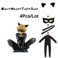 Black Cat Noir Cosplay Costumes Miraculous Ladybug Jumpsuit Wig For PURIM Child Adrien Marinette Superhero Cosplay