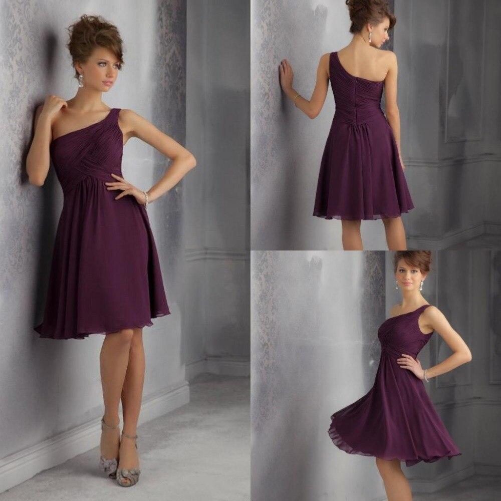 Aliexpress.com : Buy Junior Short Bridesmaid Dresses One Shoulder ...