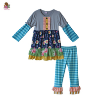 CONICE NINI New Style Kids Button Print Tunic Top Blue Striped Ruffle Pants Outfits Wholesale Girls