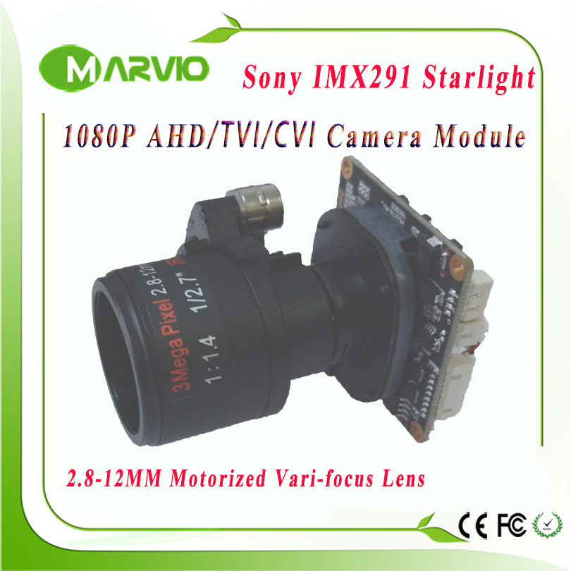 1080P 2.1MP Startlight AHD-H 2.8-12mm Motorized Zoom Auto Focal Lens 1/2.8 Sony IMX291 AHD / CVI / TVI CCTV Camera Module Board image