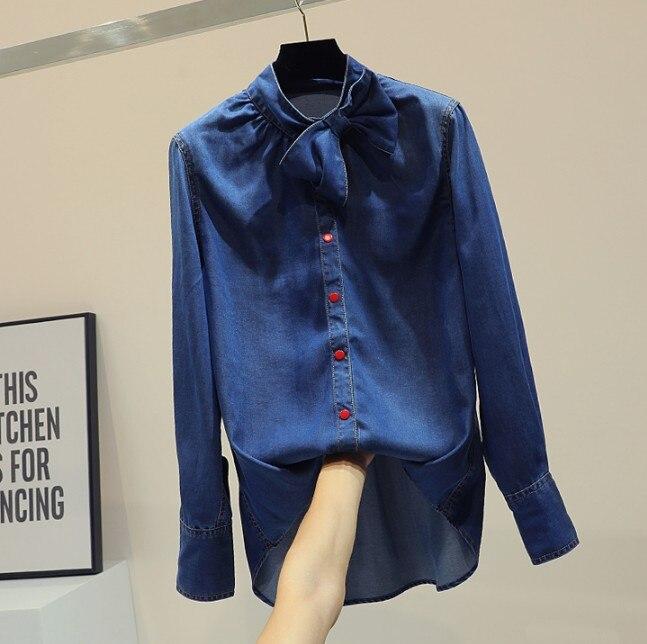Mode coréenne bleu Denim chemise femme Bf Bowknot simple boutonnage Jeans Blouse 2019 printemps automne fille étudiants Long Jean hauts