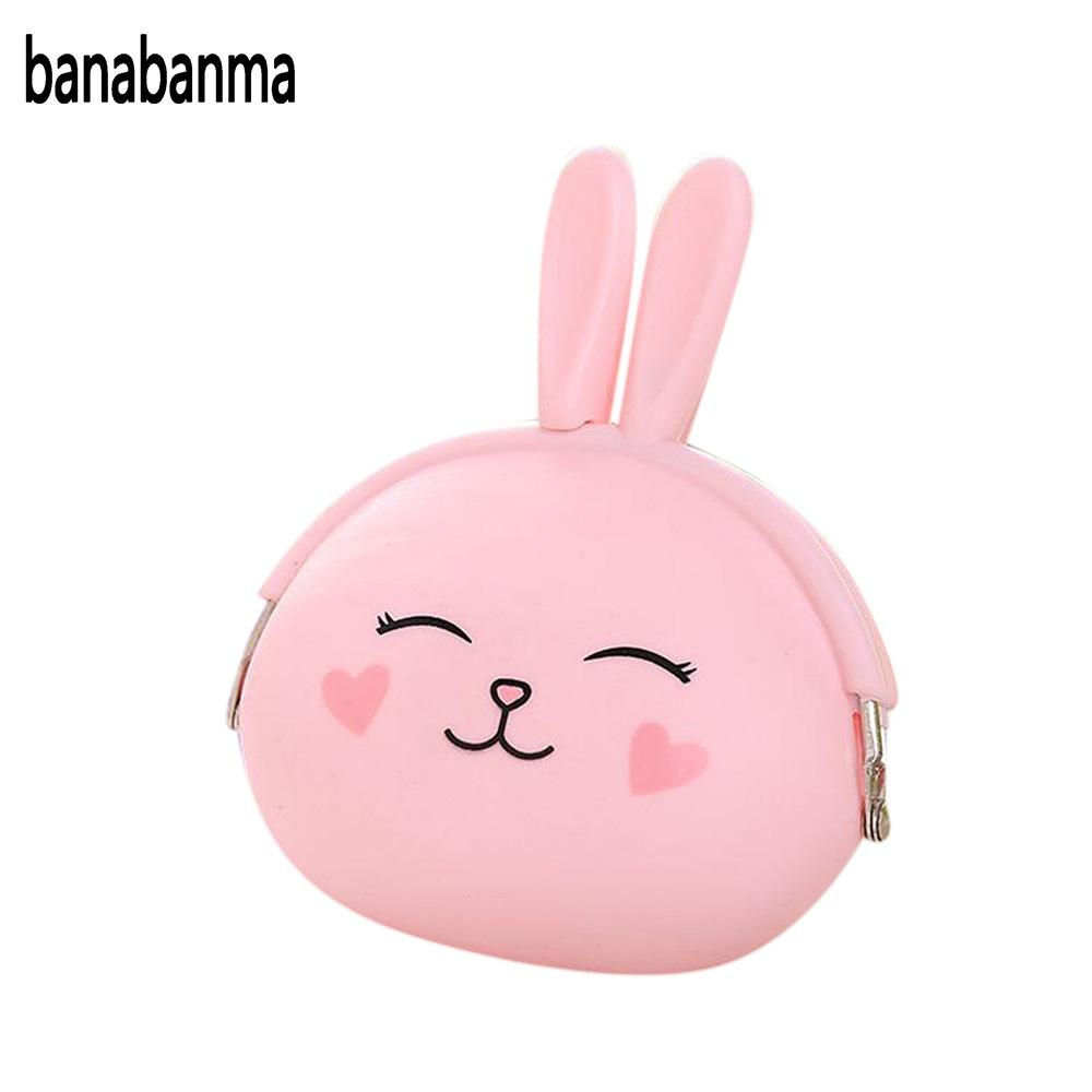 banabanma Fashion Cute Cartoon Rabbit Design Coin Purse Zipper Silicone Wallet Small Key Card Bag ZK25