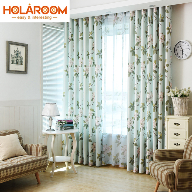 Modern Designed American Style Floral Curtains For Living Room Window Drapes Bedroom White Silk Shade