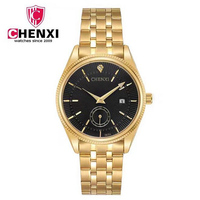 CHENXI Full Golden Quartz Watch Men Calendar Stainless Steel Luxury Gold Wristwatch Male Genuine Brand Watch