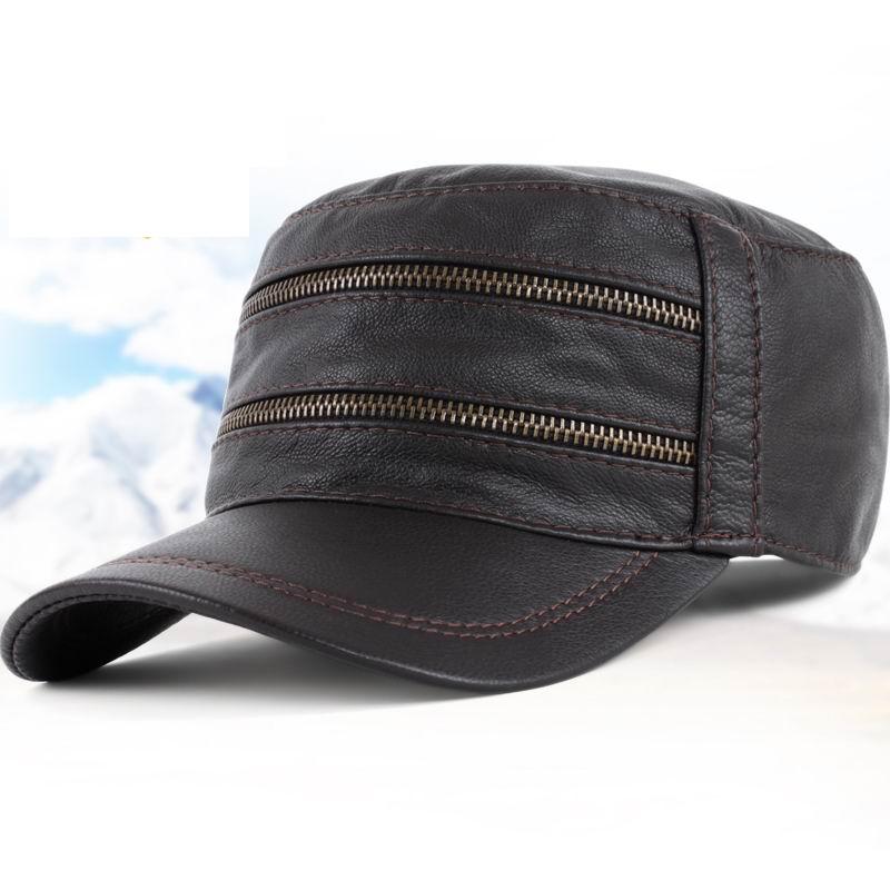 GBCNYIER mode vrai cuir armée chapeau printemps garder au chaud en cuir de chèvre mâle casquette mode extérieur promenade hommes visière